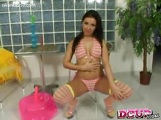 Maria Belucci copulates a huge rubber dick